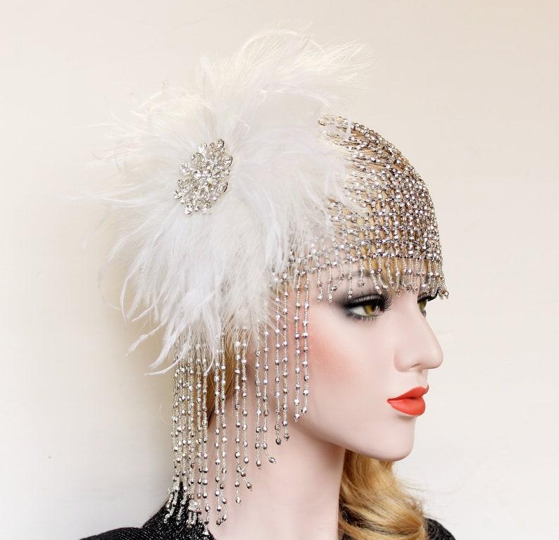 10bfc5053f607 Gatsby Cap di Beaded Wedding copricapo 1920s vintage archetto