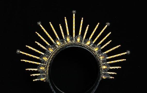 Gold Star Spike Crown Headpiece Celestial Halo Headband Gothic Crown Black Witch Goddess Headdress Spiked Halo Crown Burlesque Headpiece