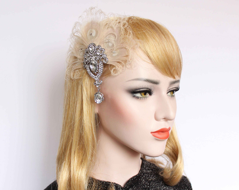 7da23cdb6c1e4 Gatsby Art Deco hair piece Ivory Peacock fascinator feather