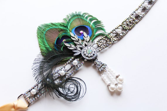 Great Gatsby headpiece Roaring 20s Daisy Headband Gunmetal 1920s Flapper Wedding Dress Art Deco Bridal Headpiece Downton Abbey