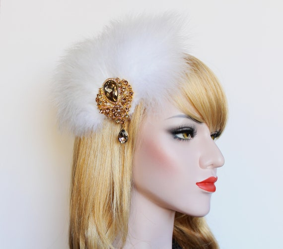 Gold White Gatsby feather hair clip 1920s Wedding Dress Fascinator Roaring 20s Hair piece Bridal Hair clip fascinator Gatsby headpiece