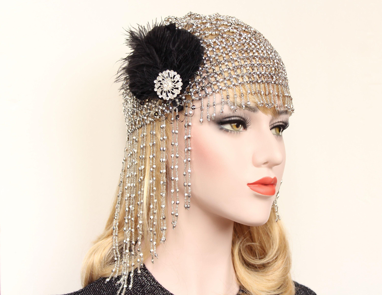 Great Gatsby Headpiece Roaring 20s Beaded Flapper Headband ... 859a8c8384d