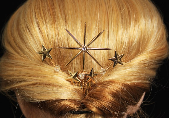 Swarovski Gold Celestial Star hair Comb 1920s Starburst hair piece Art Deco Wedding Headpiece Celestial Wedding hair clip Wedding Dress