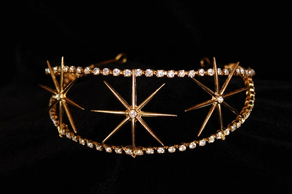Gold Swarovski Celestial Star Tiara 1920s Starburst Headpiece Art Deco Bridal Star Crown Crystal Wedding Hair piece Celestial Wedding Dress