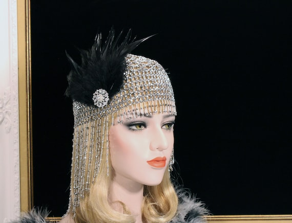 Vintage Hair Accessories: Combs, Headbands, Flowers, Scarf, Wigs Beaded Gatsby Headpiece Roaring 20s 1920s Flapper Headpiece Bachelorette Party Hen Party Gatsby dress Egyptian Cleopatra Costume headpiece $62.00 AT vintagedancer.com