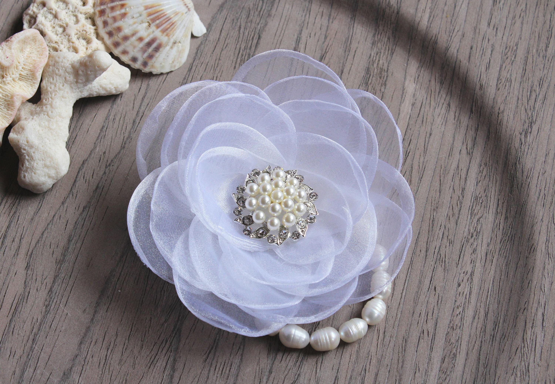 Prom Wrist Corsage White Wedding Flower Bracelet Bridesmaid Pearl