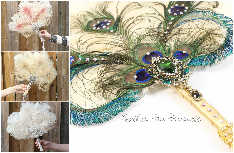 Wedding Feather Fan Peacock Ostrich Bridal Brooch Bouquet
