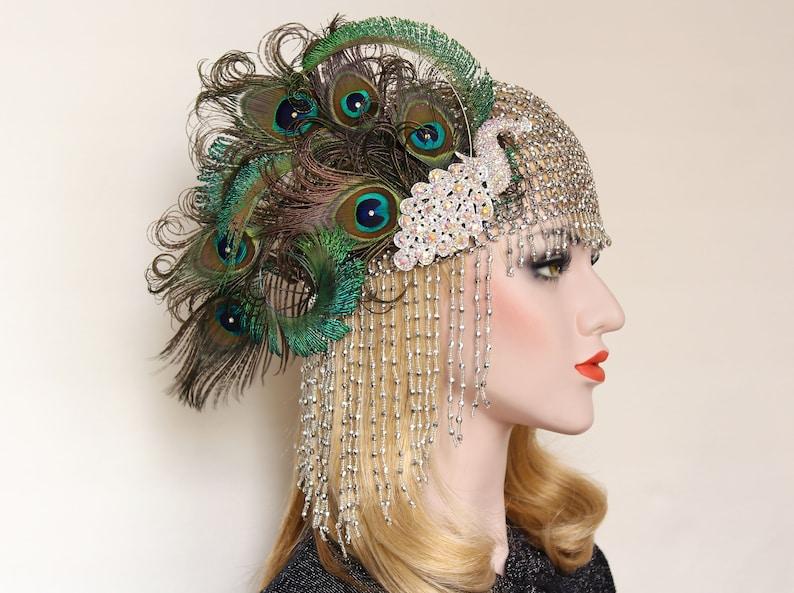 Peacock Gatsby Headpiece 1920s vintage headband cleopatra  0e3cda483170