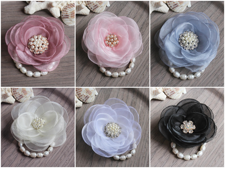 Prom Wrist Corsage Ivory Wedding Flower Bracelet Bridesmaid Pearl