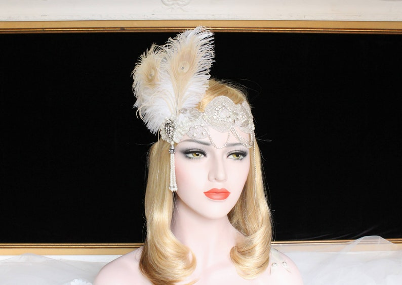 Flapper Headband 20s Gatsby Headpiece 1920s Flapper Accessories Ostrich Feather
