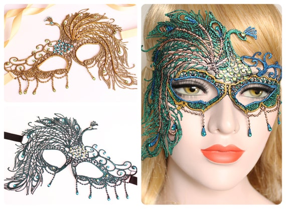 Masquerade Mask Women Peacock Mask Costume Mardi Gras Lace Mask fifty Shades Green Gold Peacock feather bridal mask Bachelorette Hen Party