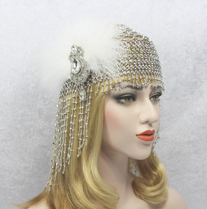 Beaded Gatsby Headpiece Roaring 20s 1920s Flapper Beaded  5dca54c7de41