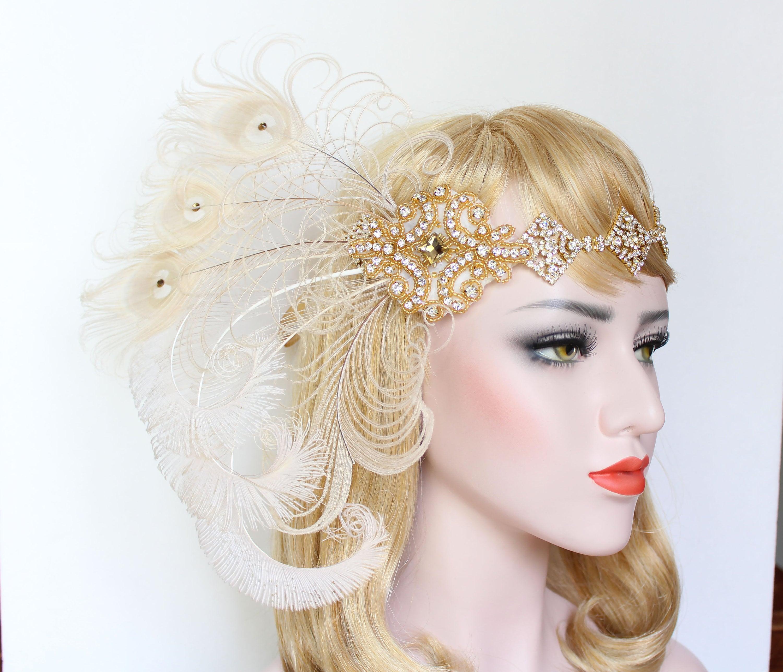 0731b79a975dc Great Gatsby headpiece 1920s Feather Flapper Headband Silver ...