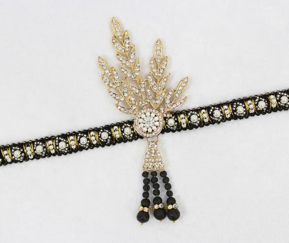 Great Gatsby Headband - Flapper Headband - Great Gatsby Headpiece - Bridal Headband - Wedding Headpiece - Silver Rose Gold Gatsby Jewelry