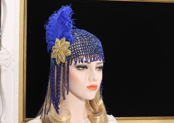 Great Gatsby Headpiece Blue Gold Roaring 20s 1920s Flapper  e88443d128fb
