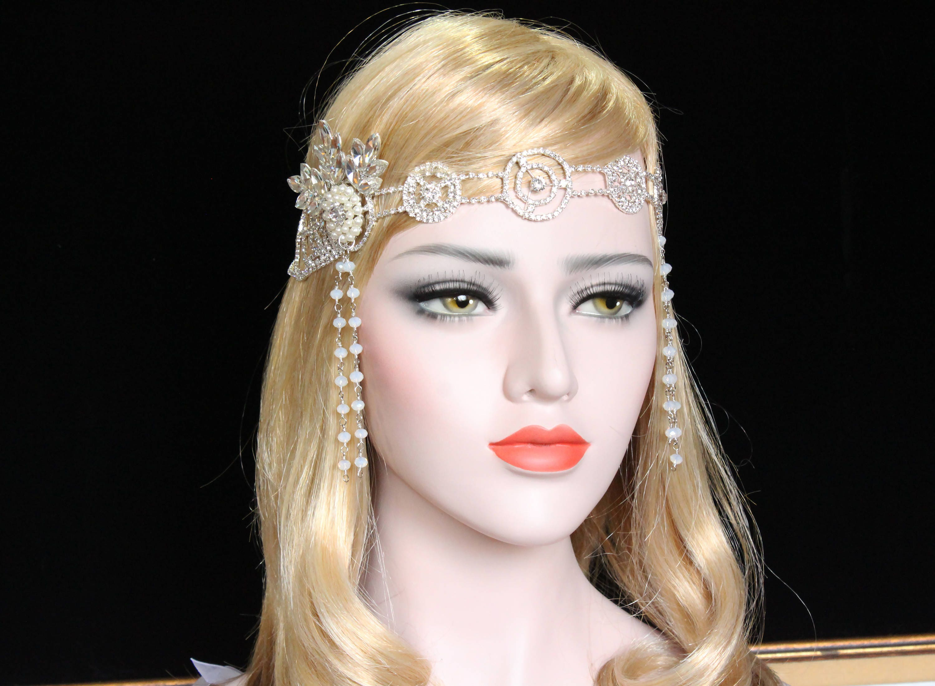 1920s great gatsby headpiece flapper dress accessories crystal