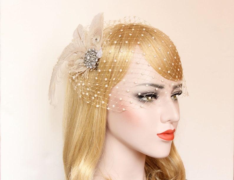 Weiß Braut Kopfschmuck mit Netz Schleier und Blumen Junggesellinnenabschied