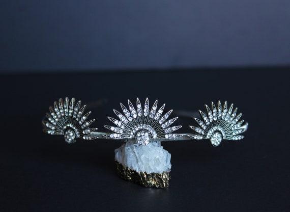 Silver Art Deco Celestial Headpiece Wedding Starburst Tiara Bridal Sunburst Crown Downton Abbey 1920s Headband Great Gatsby Wedding Dress