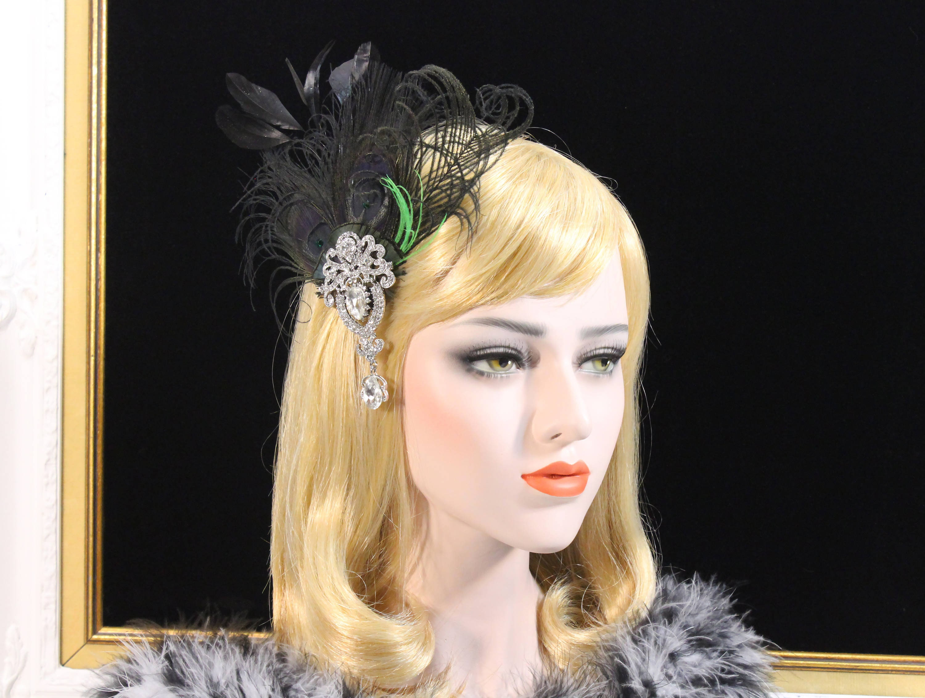 3afeca8467d73 Gatsby 1920s headpiece Feather Fascinator Black Green feather ...