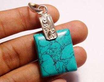 60% OFF  - Pendant Turquoise Cushion Cabochon Turquoise Gemstone Stone Size 27x22x6 mm, Turquoise Pendant, Turquoise Necklace - Blue Pendant