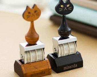 Date Stamp, Rubber Stamp, Cat Stamp, calendar stamp, animal stamp, rolling variable Date Stamp, wooden stamp, Kitty stamp, Kawai stamp