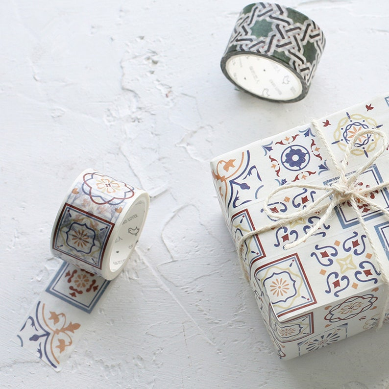 plain washi tape marble washi tape Washi Tapes retro washi tape patterned masking tape Tiles washi tape