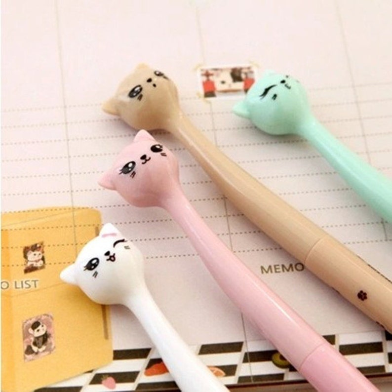 White cat pen cat pen cute cat pen Kawaii pen Loving Kitty Pen Pink cat pen kitten pen Gel pen Animals  pen Cartoon pen Cute pen