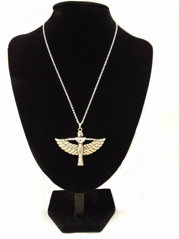 EGYPTIAN GODDESS ISIS Pendant Hung on a 925 Sterling Silver Necklace Cable Chain