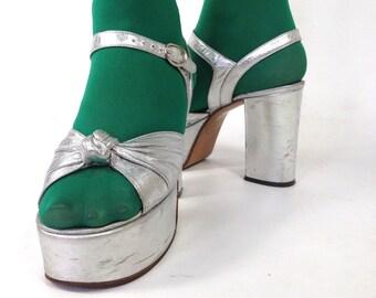 31af8696c54 Vintage 1970s silver glam platform shoes   heels   Disco   Boney M   New  York Dolls   Bowie   Glam Rock