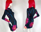 1960s Polly Peck bold floral print slinky mini dress Leonard Scandi style print Pop Art