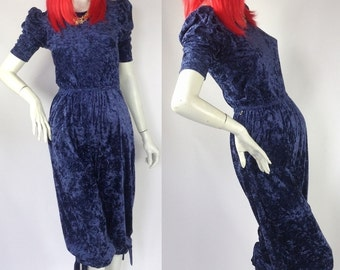 Vintage 1970s blue crushed velvet CLOBBER jumpsuit / playsuit / 30s Art Deco / Jeff Banks