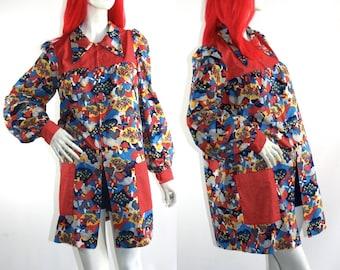 Vintage 1960s / 70s Peter Max inspired Jacket / dress / smock / coat / Pop Art / Psych / hippie