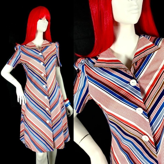 Vintage 1970s chevron stripe midi cotton shirt dre