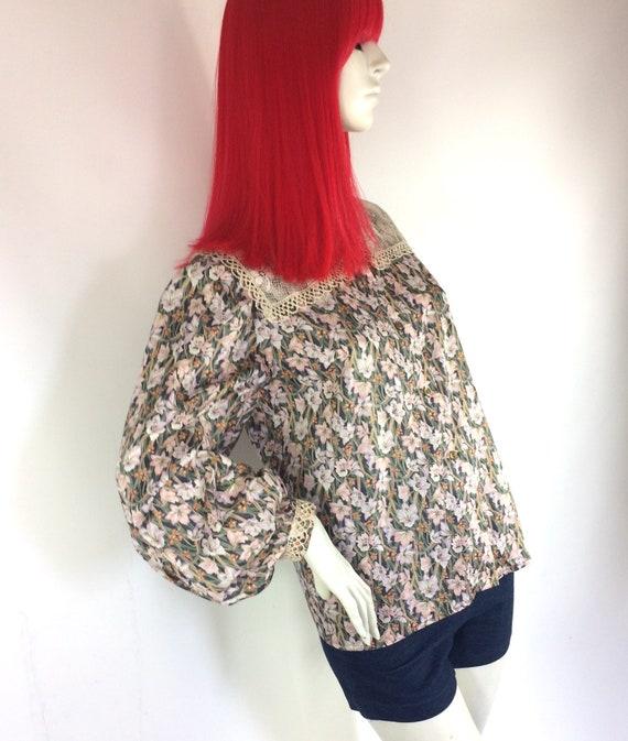 1970s Liberty lace bib Edwardian prairie blouse /… - image 3
