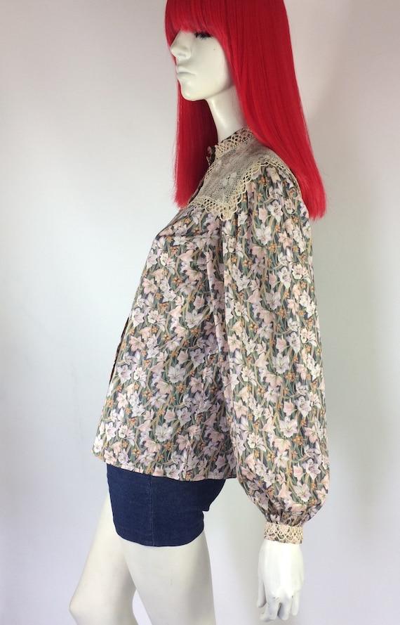 1970s Liberty lace bib Edwardian prairie blouse /… - image 2