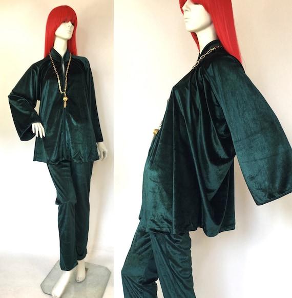 YUKI 1970s vintage liquid velvet ensemble drape ja