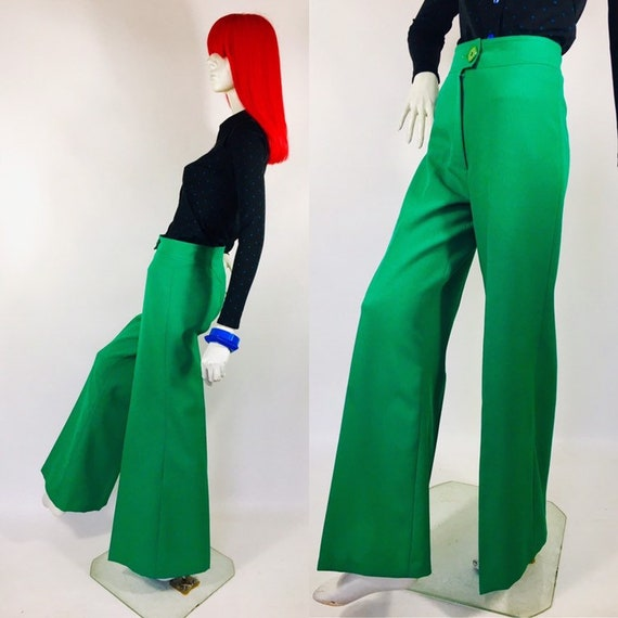 1970s Green Wide Leg Flared Trousers / 30s Deco /