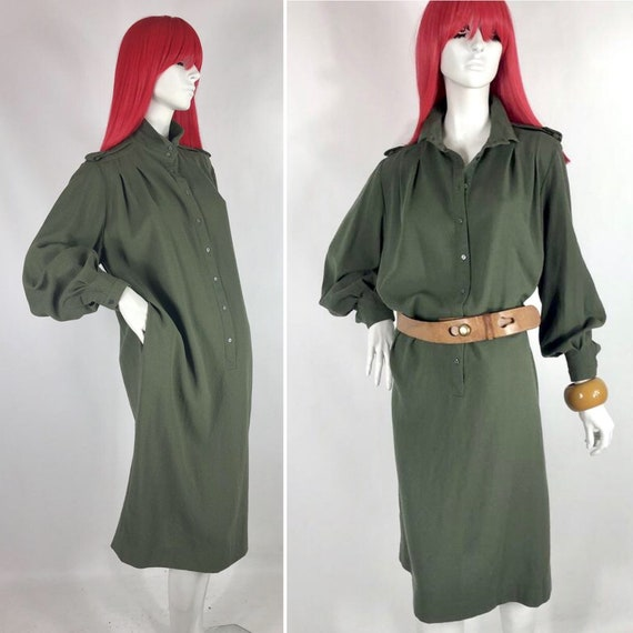 1980s JAEGER wool crepe army green shirt dress / P