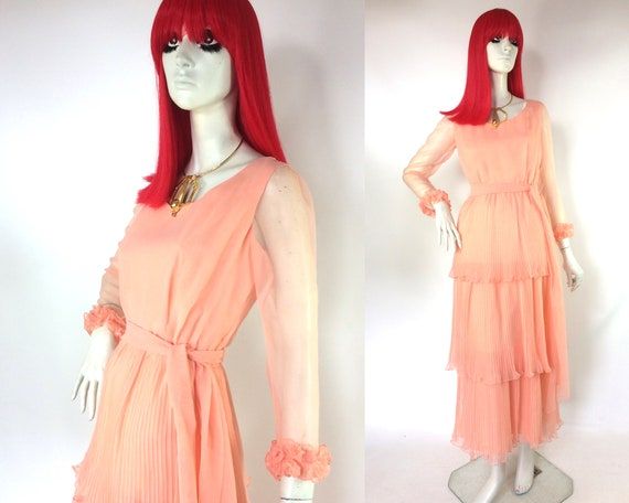 Vintage 1970s Deco layered ruffle maxi dress / 30s