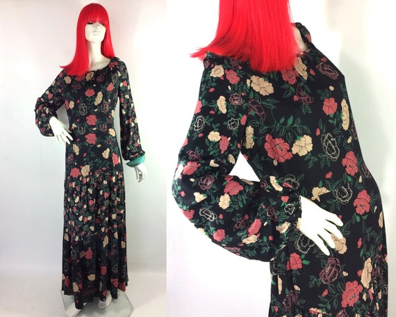 1970s vintage rose print gown by Rembrandt / maxi… - image 1