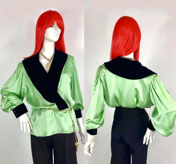 Reserved>>> 1980S YSL pistachio silk and black vel