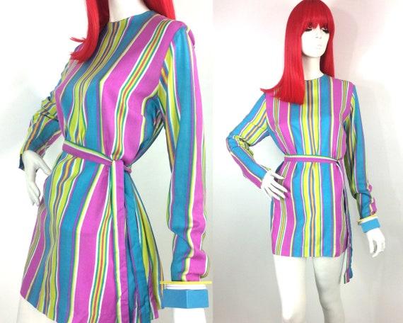Vintage 1960s MOD striped pop mini dress / Carnaby