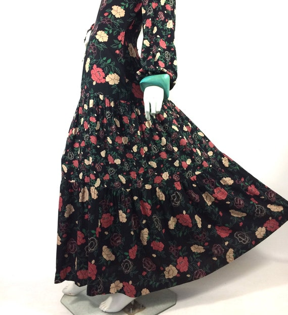1970s vintage rose print gown by Rembrandt / maxi… - image 7