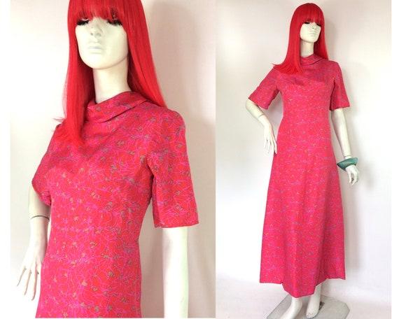 Vintage 1960s silk psych magenta maxi gown / 70s c