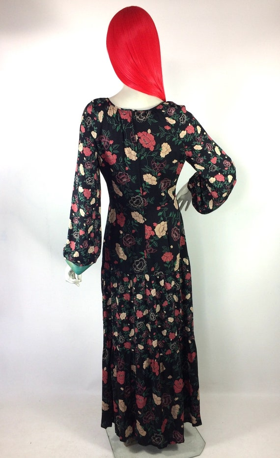 1970s vintage rose print gown by Rembrandt / maxi… - image 8