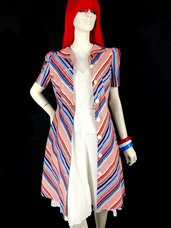 Vintage 1970s chevron stripe midi cotton shirt dr… - image 5