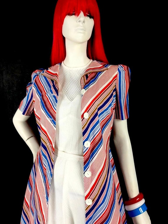 Vintage 1970s chevron stripe midi cotton shirt dr… - image 7