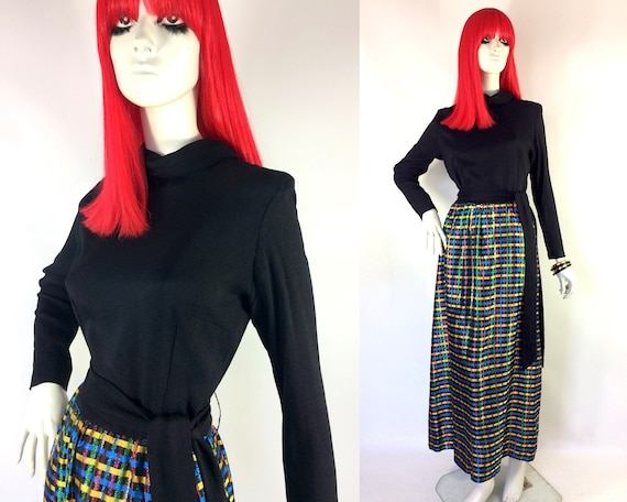 1960s vintage plaid lurex and crepe maxi gown / 60