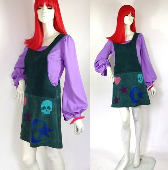Vintage 1960s teal suede pinafore mini dress resur
