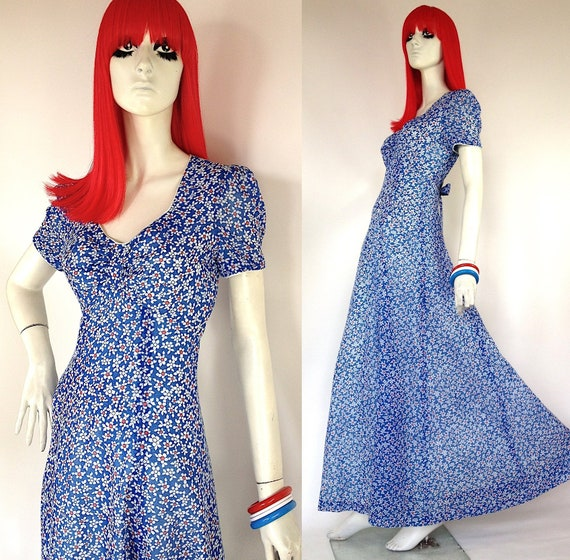 Vintage 1960s  'Young Innocent' daisy print maxi d